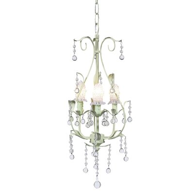 Pear 3-Light Shaded Chandelier Finish: Soft Green, Shade: Clear Bulb Cover