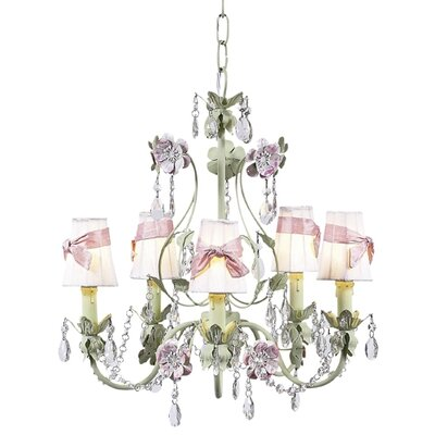 Flower Garden 5-Light Shaded Chandelier Finish: Pink and Green, Shade: White