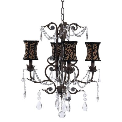 Valentino 4-Light Shaded Chandelier Finish: Pink, Shade: Leopard Hourglass