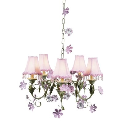Leaf and Flower 5-Light Shaded Chandelier Shade: Pink Pearl Flower