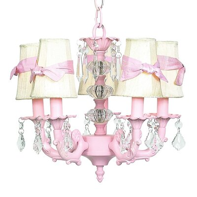 Stacked 5-Light Shaded Chandelier Shade Color: White with Pink Sash
