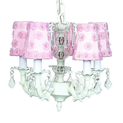 Stacked Ball 5-Light Shaded Chandelier Shade Color: Pink Flower