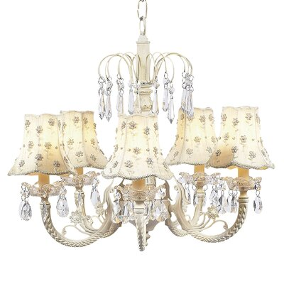 Waterfall 5-Light Shaded Chandelier Finish: Pink, Shade: Green Check
