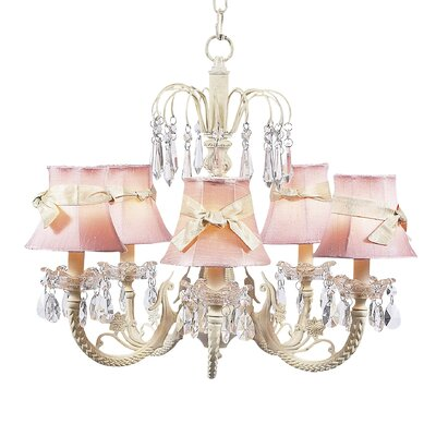 Waterfall 5-Light Shaded Chandelier Finish: Ivory, Shade: Pink