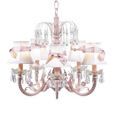 Waterfall 5-Light Shaded Chandelier Finish: Pink, Shade: White