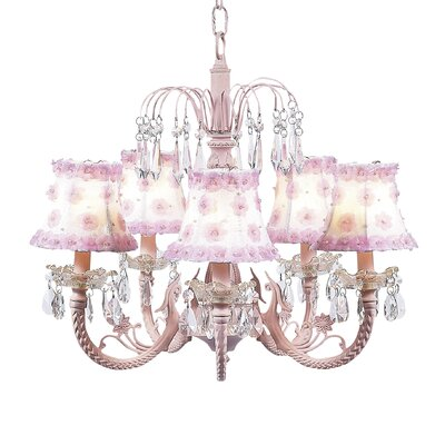 Waterfall 5-Light Shaded Chandelier Finish: Pink, Shade: White with Pink Petal Flower