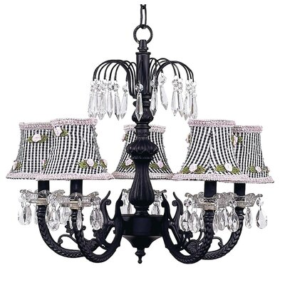 Water Fall 5-Light Shaded Chandelier Finish: Black, Shade: Black Check with Pink Ribbon