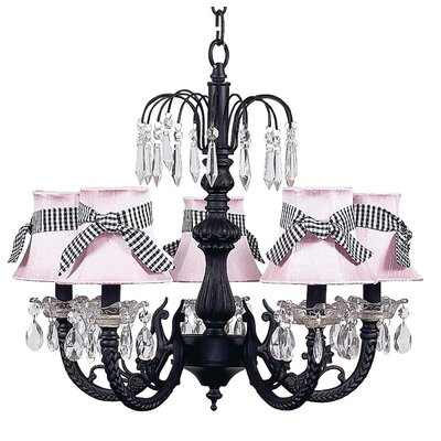 Water Fall 5-Light Shaded Chandelier Finish: Black, Shade: Pink with Sash