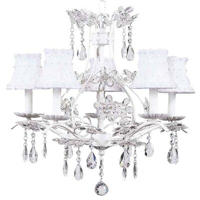 Cinderella 5-Light Shaded Chandelier Finish: White, Shade: White Petal Flower