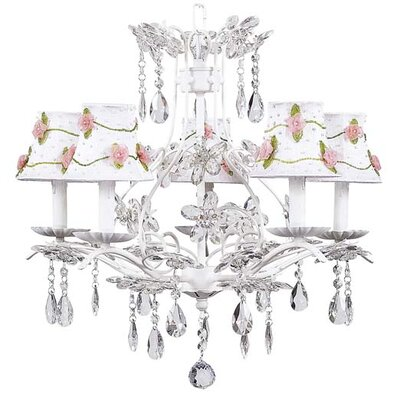 Cinderella 5-Light Shaded Chandelier Finish: White, Shade: White with Pink Net Flower
