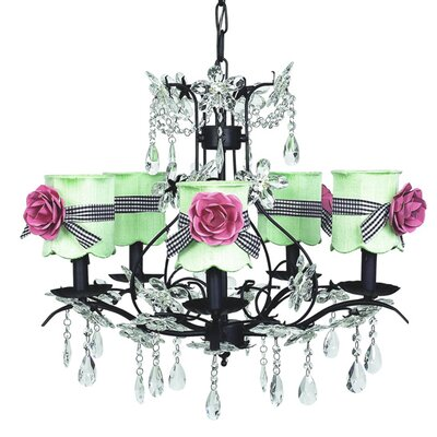 Cinderella 5-Light Shaded Chandelier Finish: Pink, Shade: Whtie with Pink Sash