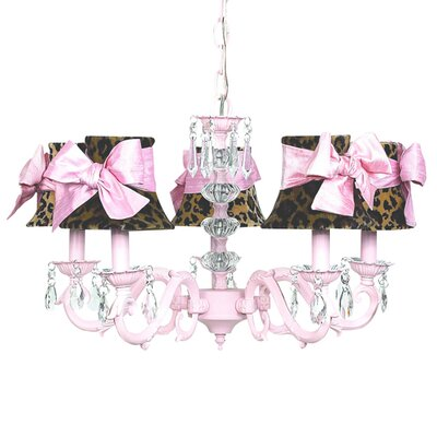 Turret 5-Light Shaded Chandelier Finish: Pink, Shade: Leopard Shade with Sash