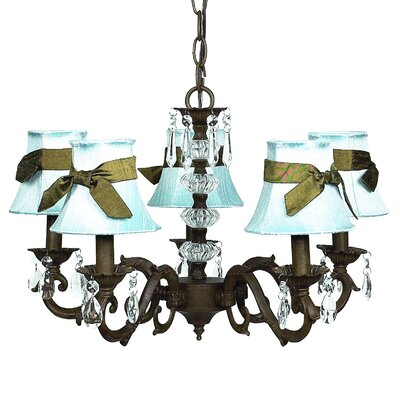 Turret 5-Light Shaded Chandelier Finish: Mocha, Shade: Blue