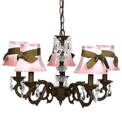 Turret 5-Light Shaded Chandelier Finish: Mocha, Shade: Pink
