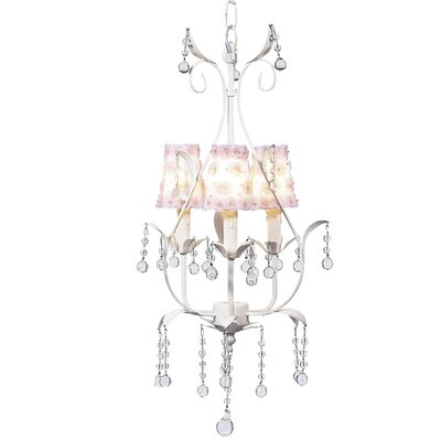 Pear 3-Light Shaded Chandelier Finish: White, Shade: White and Pink Petal Flower