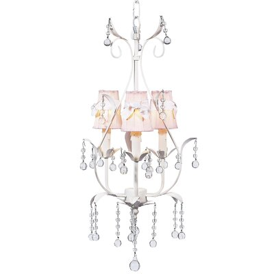 Pear 3-Light Shaded Chandelier Finish: White, Shade: Pink