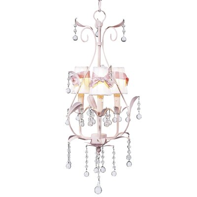 Pear 3-Light Shaded Chandelier Finish: Soft Green, Shade: Pink
