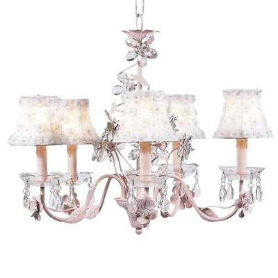 Flower 5-Light Shaded Chandelier Finish: Pink, Shade: White Petal Flower