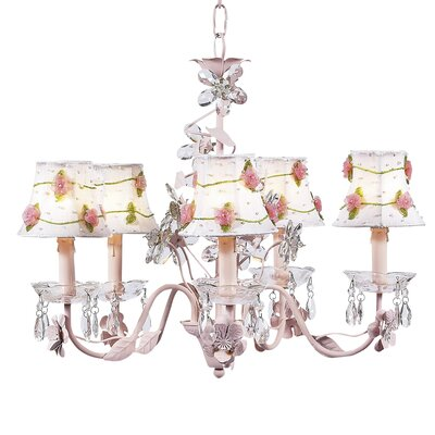 Flower 5-Light Shaded Chandelier Finish: Pink, Shade: Pink Net Flower