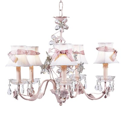 Flower 5-Light Shaded Chandelier Finish: Pink, Shade: White
