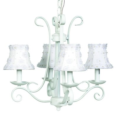 Harp 4-Light Shaded Chandelier Finish: White, Shade: White Petal Flower