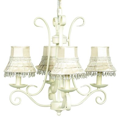 Harp 4-Light Shaded Chandelier Finish: Ivory, Shade: Ivory Skirt Dangle