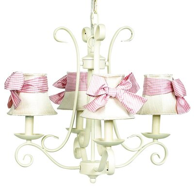 Harp 4-Light Shaded Chandelier Finish: Ivory, Shade: Ivory with Sash