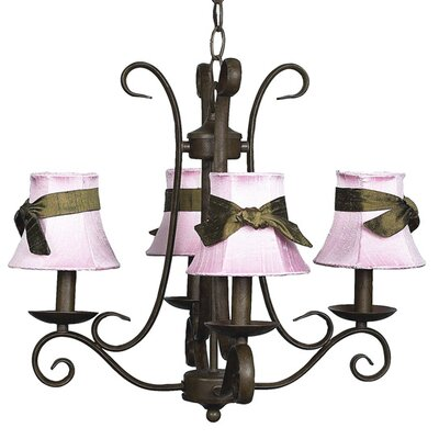 Harp 4-Light Shaded Chandelier Finish: Mocha, Shade: Pink with Brown Sash