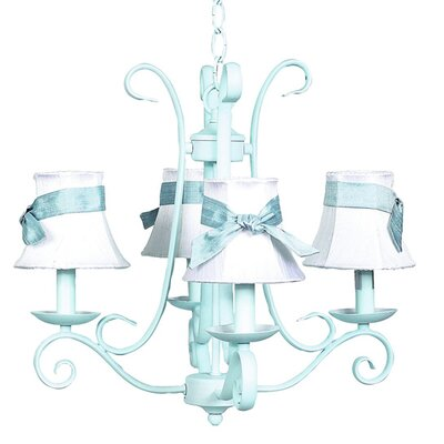 Harp 4-Light Shaded Chandelier Finish: White, Shade: Pink Scallop Drum