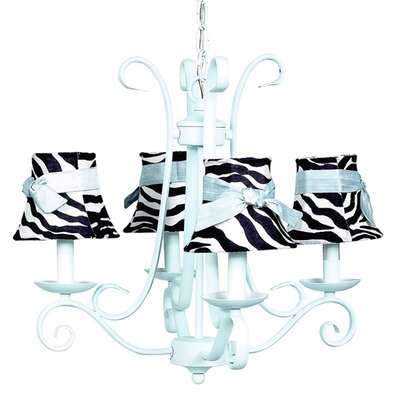 Harp 4-Light Shaded Chandelier Finish: Baby Blue, Shade: Zebra Bell