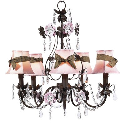 Flower Garden 5-Light Shaded Chandelier Finish: Mocha and Pink, Shade: Pink Petal Flower