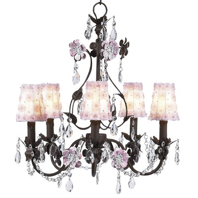 Flower Garden 5-Light Shaded Chandelier Finish: Mocha and Pink, Shade: White and Pink Petal Flower