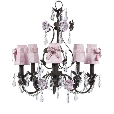 Flower Garden 5-Light Shaded Chandelier Finish: Mocha and Pink, Shade: Pink Sonce with Pink Sash