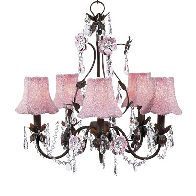 Flower Garden 5-Light Shaded Chandelier Finish: Mocha and Pink, Shade: Beaded Pink Glass