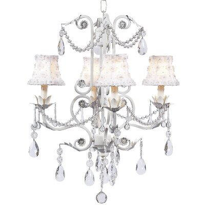Valentino 4-Light Shaded Chandelier Finish: White, Shade: White Petal Flower