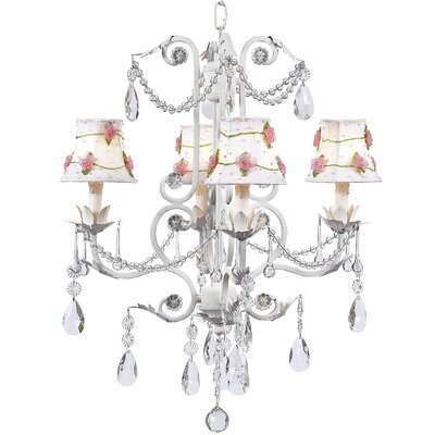 Valentino 4-Light Shaded Chandelier Finish: White, Shade: Pink Net Flower