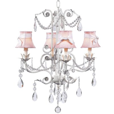 Valentino 4-Light Shaded Chandelier Finish: White, Shade: Pink