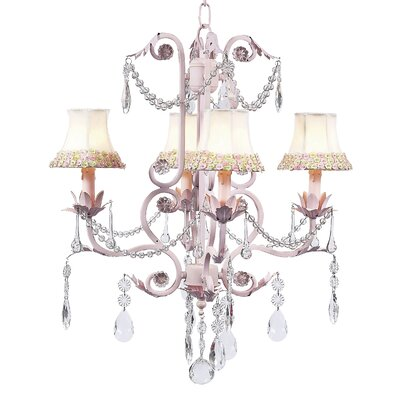 Valentino 4-Light Shaded Chandelier Finish: Pink, Shade: Pink and Green Flower Border