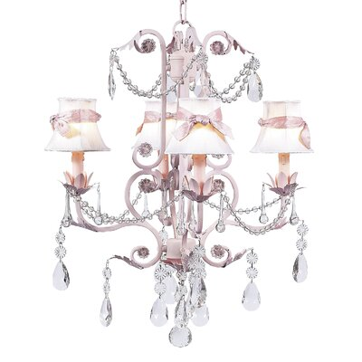 Valentino 4-Light Shaded Chandelier Finish: Pink, Shade: White
