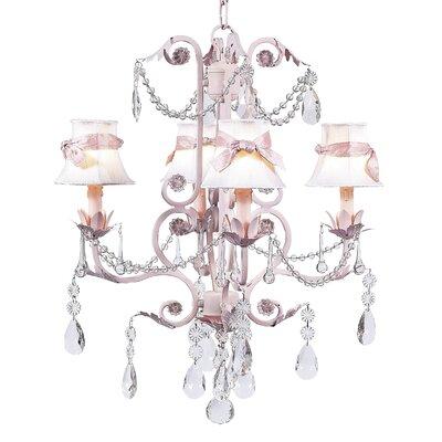 Valentino 4-Light Shaded Chandelier Finish: Pink, Shade: White