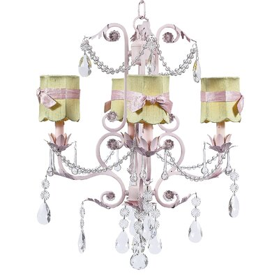 Valentino 4-Light Shaded Chandelier Finish: Pink, Shade: Green Scallop Drum