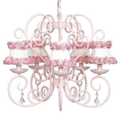 Carriage 5-Light Shaded Chandelier Finish: Pink, Shade: Pink Ribbon