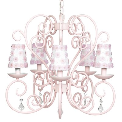 Carriage 5-Light Shaded Chandelier Finish: Pink, Shade: Blue with Sash