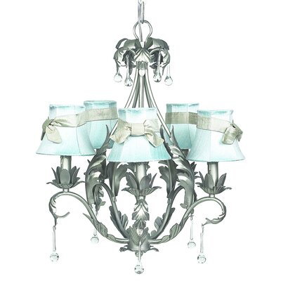 Caesar 5-Light Shaded Chandelier Shade: Blue with Champagne Sash