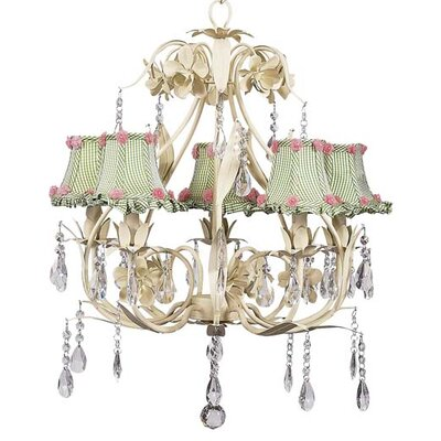 Ballroom 5-Light Shaded Chandelier Shade: Green Check Ruffled Edge