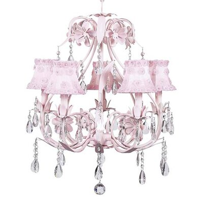 Ballroom 5-Light Shaded Chandelier Shade: Petal Flower Pink