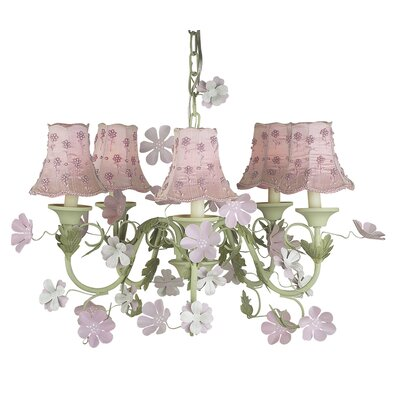Leaf and Flower 5-Light Shaded Chandelier Shade: Pink Daisy Pearl