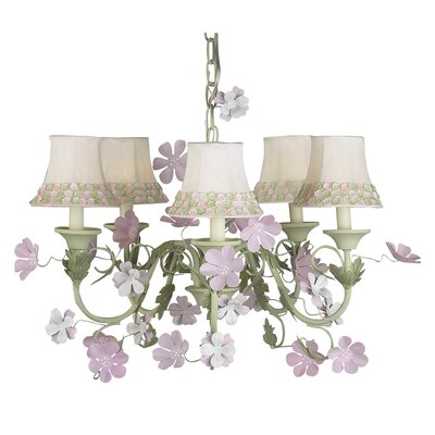Leaf and Flower 5-Light Shaded Chandelier Shade: Pink Flower Border