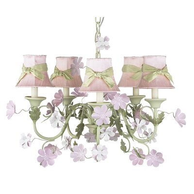 Pink Plain Chandelier Shade with Green Sash (Set of 2)
