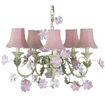 Leaf and Flower 5-Light Shaded Chandelier Shade: Pink Glass Bead Fabric